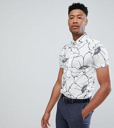 Белая узкая строгая рубашка с цветочным принтом Ted Baker TALL - Белый