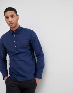 Рубашка классического кроя с короткой планкой Selected Homme - Темно-синий