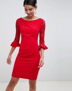 Платье миди с кружевными рукавами City Goddess - Красный
