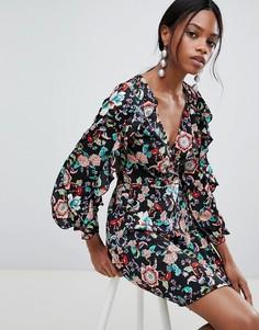 Платье мини с пышными рукавами и открытой спиной Liquorish - Мульти