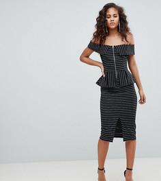 Платье-футляр на молнии в тонкую полоску с широким вырезом и баской ASOS DESIGN Tall - Мульти