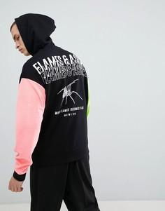 Oversize-худи черного цвета с велюровыми рукавами и принтом на спине ASOS DESIGN - Черный