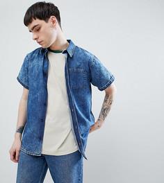 Джинсовая рубашка с короткими рукавами и эффектом кислотной стирки Reclaimed Vintage Inspired - Синий
