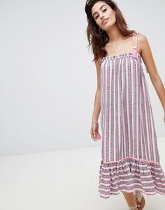 Платье миди в полоску River Island - Розовый