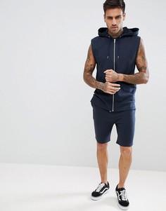 Темно-синий спортивный костюм с худи и шортами скинни ASOS DESIGN - Темно-синий