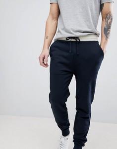 Темно-синие облегающие джоггеры с контрастным поясом ASOS DESIGN - Бежевый