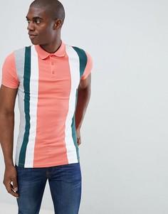 Розовая обтягивающая футболка-поло с вертикальными полосками колор блок ASOS DESIGN - Розовый