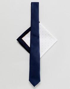 Темно-синий галстук и платок для пиджака в горошек ASOS DESIGN - Темно-синий