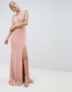 Платье макси со стразами Jovani - Серый