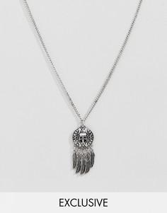 Серебристое ожерелье с подвеской-монетой Reclaimed Vintage эксклюзивно для ASOS - Серебряный