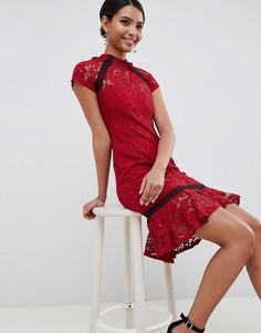 Кружевное платье с оборкой Paper Dolls - Красный