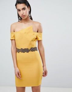 Асимметричное платье-футляр с отделкой на талии The 8th Sign - Желтый