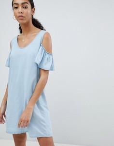 Джинсовое платье А-силуэта с вырезами на плечах Noisy May - Синий