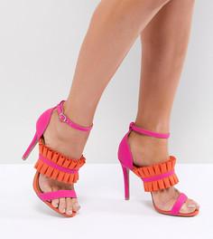 Босоножки на каблуке с бахромой QUPID - Розовый