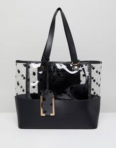 Пластиковая сумка-тоут с принтом звезд Yoki Fashion - Черный