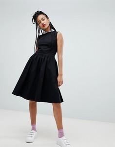 Платье-трапеция миди с пайетками на воротнике Love Moschino - Черный