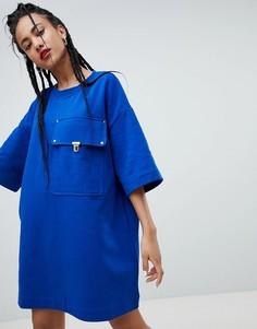 Платье-футболка с большим карманом Love Moschino - Синий