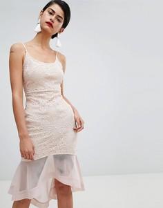 Кружевное платье мини с годе Missguided - Бежевый