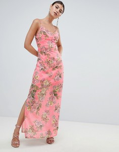 Шифоновое платье макси с цветочным принтом и боковым разрезом Missguided - Розовый