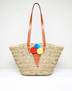Структурированная пляжная сумка с отделкой помпонами в виде мороженого Vincent Pradier - Мульти