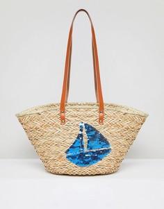 Структурированная пляжная сумка из соломы Vincent Pradier Sail Boat - Мульти
