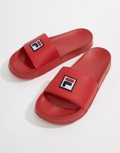 Красные шлепанцы с логотипом Fila Drifter - Красный