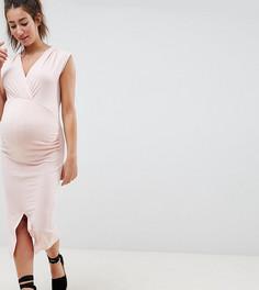 Облегающее платье с запахом и разрезом ASOS DESIGN Maternity - Розовый