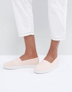 Хлопковые туфли-слипоны TOMS Avalon Bloom - Розовый