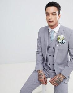 Серый узкий пиджак с принтом на подкладке ASOS DESIGN Wedding - Серый
