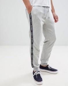 Серые меланжевые джоггеры с манжетами и отделкой кантом с логотипом Tommy Hilfiger - Серый