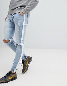 Светлые супероблегающие джинсы с полосками по бокам Sixth June - Синий
