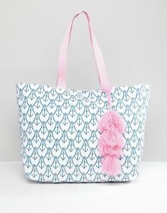 Пляжная сумка с принтом якоря Chateau - Синий