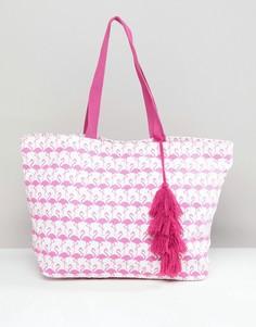 Пляжная сумка с принтом фламинго Chateau - Розовый