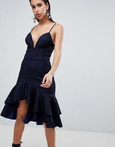 Платье миди с оборкой The 8th Sign - Темно-синий