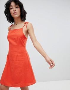 Платье в стиле 90-х с завязками Rollas - Красный