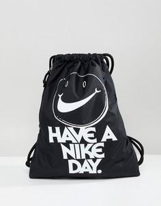Черный рюкзак с логотипом и шнурком Nike Archive - Черный