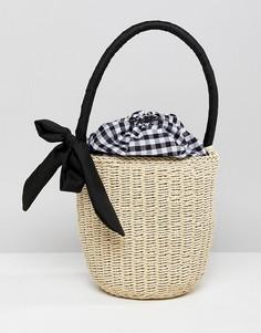 Соломенная сумка-корзинка с ручкой и подкладкой в клеточку ASOS DESIGN - Светло-бежевый