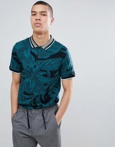 Узкая жаккардовая футболка-поло River Island - Зеленый