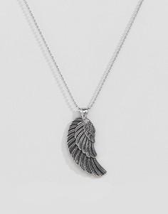 Серебристое ожерелье с дизайном в виде крыла Seven London - Серебряный