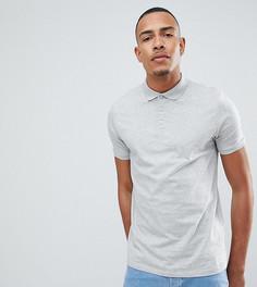 Серая меланжевая футболка-поло ASOS DESIGN Tall - Серый