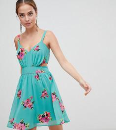 Зеленое платье мини с вырезами и цветочным принтом ASOS DESIGN Petite - Мульти