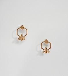 Серьги-гвоздики с позолоченными пчелами Bill Skinner - Золотой
