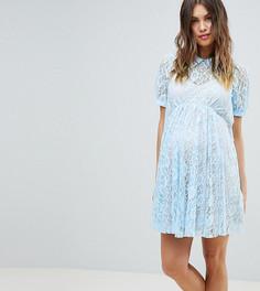 Кружевное свободное платье с воротником ASOS DESIGN Maternity - Синий