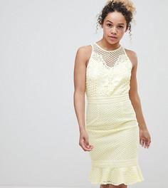 Платье лимонного цвета с кружевом Little Mistress Petite - Желтый