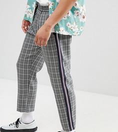 Укороченные брюки в клетку с полосками по бокам Milk It - Серый