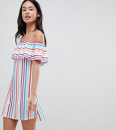 Платье в радужную полоску с широким вырезом Boohoo - Мульти