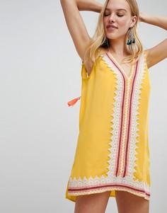 Пляжное платье-туника с вышивкой ришелье River Island - Желтый