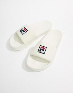 Белые шлепанцы с логотипом Fila Drifter - Белый