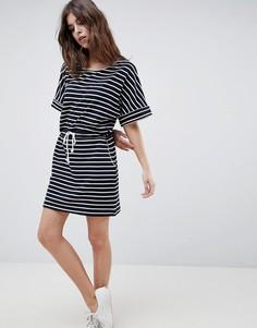 Платье-футболка в полоску с затягивающимся шнурком Esprit - Мульти