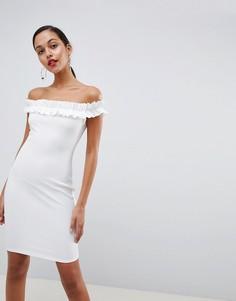 Белое облегающее платье с широким вырезом Outrageous Fortune - Белый